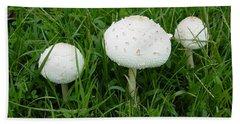 White Wild Mushrooms Bath Towel