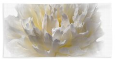 White Peony With A Dash Of Yellow Bath Towel by Sherman Perry