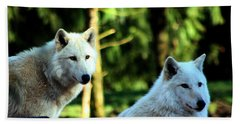 White Wolves Hand Towel