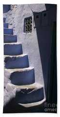 Whitewashed Steps In The Medina Of Asilah On Northwest Tip Of Atlantic Coast Of Morocco Hand Towel by Ralph A  Ledergerber-Photography