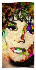 Whitney Houston Hand Towel by Daniel Janda