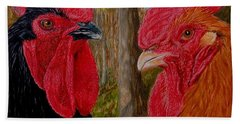 Hand Towel featuring the painting Who You Calling Chicken by Karen Ilari