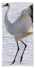 Whooping Crane - Whooping It Up Bath Towel by Tony Beck