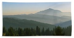 Wide Panorama With Mountains At Sunset In Late November Bath Towel