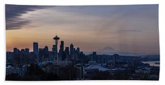 Wide Seattle Morning Skyline Hand Towel