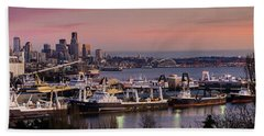Wider Seattle Skyline And Rainier At Sunset From Magnolia Hand Towel