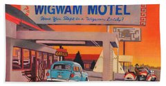 Bath Towel featuring the painting Wigwam Motel by Art James West