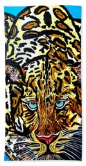 Hand Towel featuring the painting Wild Cat by Nora Shepley