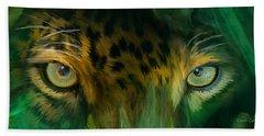 Bath Towel featuring the mixed media Wild Eyes - Jaguar by Carol Cavalaris