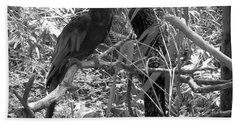 Bath Towel featuring the photograph Wild Hawaiian Parrot Black And White by Joseph Baril