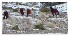 Wild Mustangs In A Nevada Winter Bath Towel