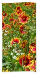 Hand Towel featuring the photograph Wild Red Daisies #2 by Robert ONeil