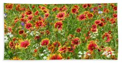 Hand Towel featuring the photograph Wild Red Daisies #3 by Robert ONeil