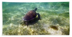 Bath Towel featuring the photograph Wild Sea Turtle Underwater by Eti Reid