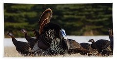 Bath Towel featuring the photograph Wild Turkeys by Steven Clipperton