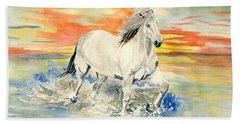 Wild White Horse Bath Towel by Melly Terpening