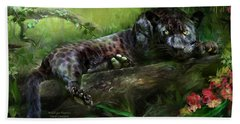 Wildeyes - Panther Hand Towel by Carol Cavalaris
