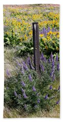 Wildflowers And Fence Post Hand Towel