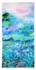 Bath Towel featuring the painting Wildlife Clouds And Shadows On Eagle Hill by Trudi Doyle