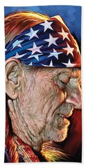 Bath Towel featuring the painting Willie Nelson Artwork by Sheraz A