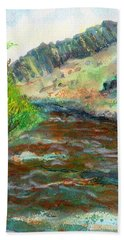 Bath Towel featuring the painting Willow Creek In Spring by C Sitton