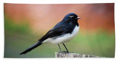 Willy Wagtail Austalian Bird Painting Bath Towel