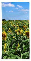 Windblown Sunflowers Hand Towel