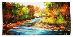 A Winding Stream In Autumn Light Hand Towel