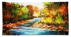 A Winding Stream In Autumn Light Bath Towel