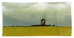 Windmill And Rapeseed And Storm Bath Towel