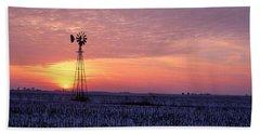 Windmill Cornfield Edgar County Il Usa Hand Towel
