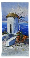 Windmill In Greece Bath Towel by Elena  Constantinescu