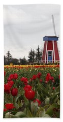 Windmill Red Tulips Bath Towel by Athena Mckinzie