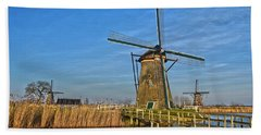 Windmills And Bridge Near Kinderdijk Bath Towel