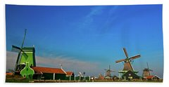 Windmills At Zaanse Schans Hand Towel by Jonah  Anderson