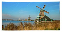Windmills On De Zaan Hand Towel by Jonah  Anderson