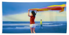Children Playing On The Beach Hand Towel