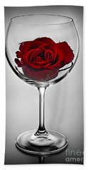 Wine Glass With Rose Bath Towel by Elena Elisseeva