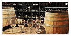 Wine Glasses And Barrels Hand Towel