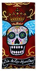 Hand Towel featuring the painting Winged Muertos by Pristine Cartera Turkus