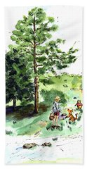 Winnie The Pooh With Christopher Robin After E H Shepard Hand Towel