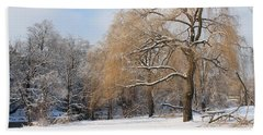 Bath Towel featuring the photograph Winter Along The River by Nina Silver