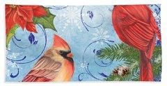 Winter Blue Cardinals-joy Hand Towel