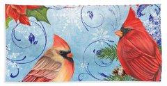 Winter Blue Cardinals-merry Christmas Bath Towel