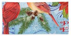 Winter Blue Cardinals-peace Hand Towel