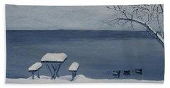 Winter By The Lake Bath Towel