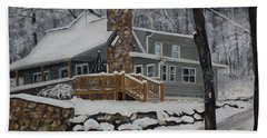 Hand Towel featuring the painting Winter - Cabin - In The Woods by Jan Dappen