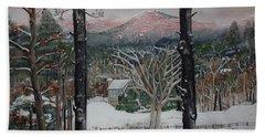 Winter - Cabin - Pink Knob Hand Towel