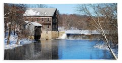Winter Capture Of The Old Jaeger Rye Mill Hand Towel