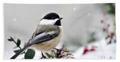 Bath Towel featuring the photograph Winter Chickadee by Christina Rollo